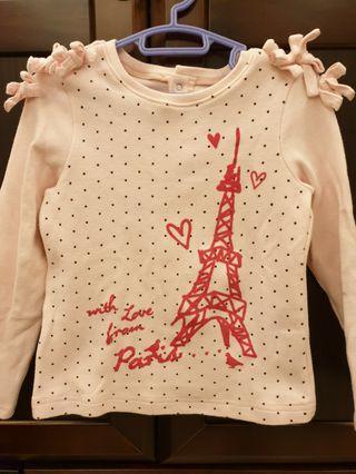 🚚 麗嬰房~鐵塔圖案點點棉上衣(4歲)