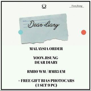YOON JISUNG - DEAR DIARY - PREORDER/NORMAL ORDER/GROUP ORDER/GO + FREE GIFT BIAS PHOTOCARDS (1 ALBUM GET 1 SET PC, 1 SET HAS 9 PC)