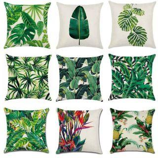 1x Home Sofa Green Tropical Pillowcase Cusion Cover