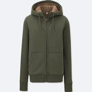 Uniqlo Pile Lined Sweat Long Sleeve Full Zip hoodie jacket Hoodie Fleece-lined - olive #APR75