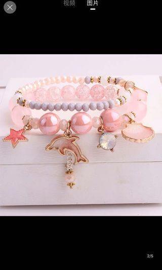 韓國粉紅色海豚雙條手串(要訂貨)