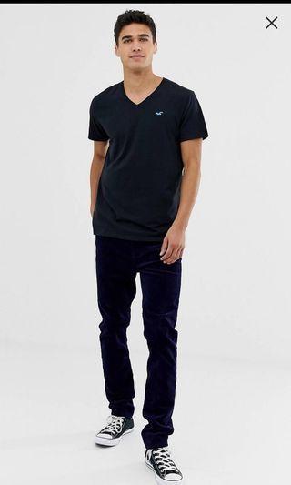 Hollister V領上衣 短袖 T-SHIRT 黑色