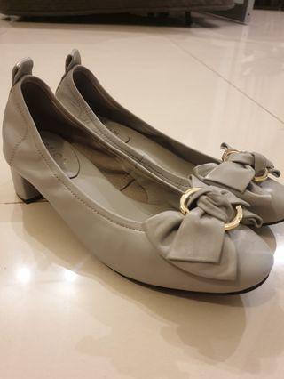 Pazzion Bow Gold Buckle Grey Block Heels