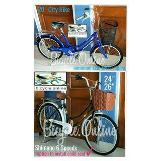 """20, 24 & 26"""" City Bikes from $149 * Brand new bicycles *add $49 to install rear child seat (Taiwan)"""