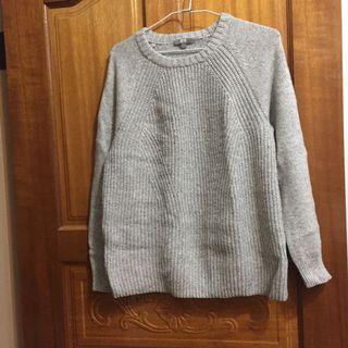 UNIQLO 灰色 麻花 發熱毛衣 HEATTECH