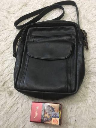 Fully leather sling bag
