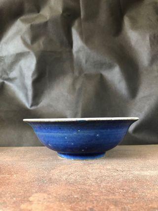 🚚 明 正德 霽藍青花折沿洗 寬16.5高5.5公分