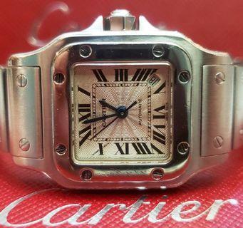甚美品全套齊經典款Cartier-Sandos全鋼全自動日曆女裝Over 90% New((不議價))...有興趣朋友懇請細看描述全文(read more),謝謝!