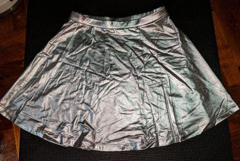 Metallic Silver Skater Skirt #EndGameYourExcess