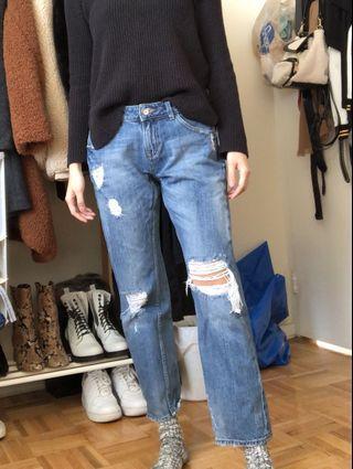 Zara Boyfriend Ribbed Jeans