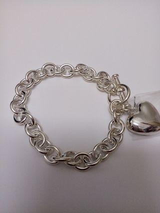 全新純銀心形吊飾手鏈