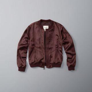 Maroon satin bomber jacket