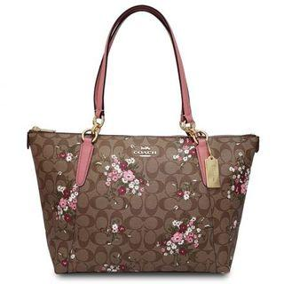 New Stock COACH (F30247) SIGNATURE BROWN FLORAL AVA TOTE BAG  Premium