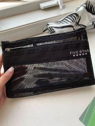 Black five star pencil case