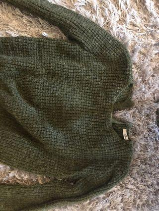 Women's small army green sweater