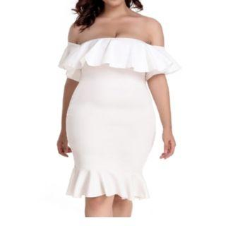 CELLY Plus Size White Off-Shoulder Ruffle Bodycon Mermaid Party Dress (CSOH R80474-2P)