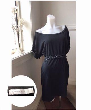 Size L (size 10-12) Mink Pink off-the-shoulder black dress