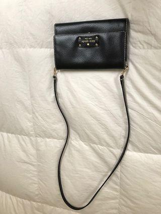 Kate Spade black flat leather Crossbody with room for large cell phone