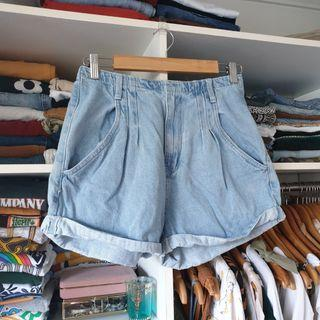 Baggy style high waisted denim shorts