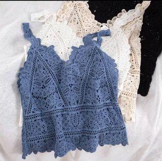 🚚 [PO] Ulzzang Elegant Crochet Lace Sleeveless Top