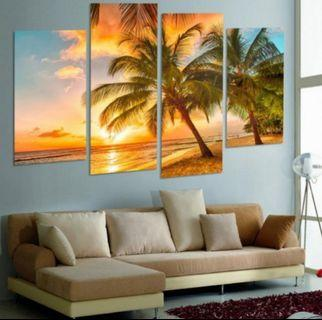In stock - 4pcs sunset seaside canvas paintings