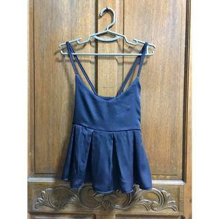 Navy Blue Peplum Top