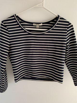 Navy and white Stripe Crop Top