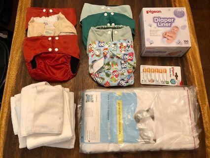 🚚 Cloth Diapers/Nappies and Newborn Clothing Bundle