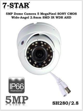5MP 4K Dome CCTV Camera - 7-STAR* 4K Ultra-HD 5 Megapixel Vandal-Resistant Dome Camera [Features:Support UTC:AHD, TVI, CVI, CVBS, Resolution:2560*1960, 2.8mm Wide-Angle Lens, 24 Smart IR Night Vision, IP66 Weatherproof]