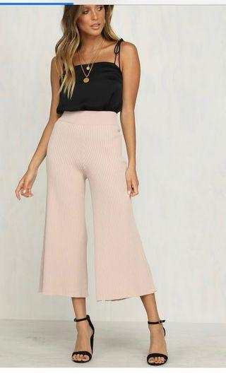 NEW RUNWAY SCOUT SABO NUDE RIBBED KNIT PANTS XS 6
