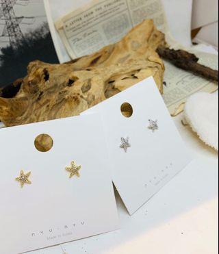 韓國立體星星耳環(金色)