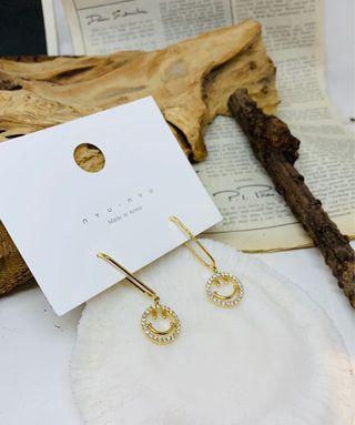 韓國垂吊型笑哈哈耳環(金色)