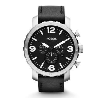 Fossil Men's Nate Chronograph black leather watch