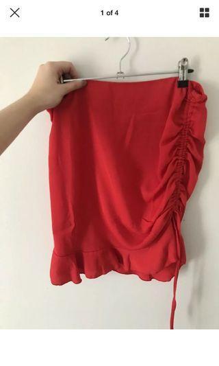 Red scrunch skirt