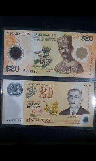 Sg & brunei  $20 notes