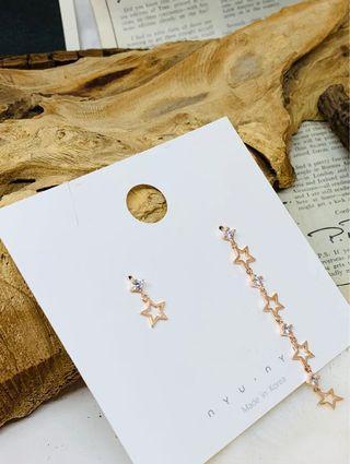 韓國垂吊不對稱星星耳環(玫瑰金)