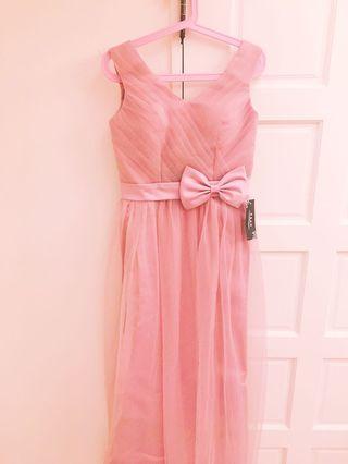 超美豆沙粉蝴蝶結禮服可參加比賽/表演/ 伴娘/ 樂團/ 婚禮主持使用