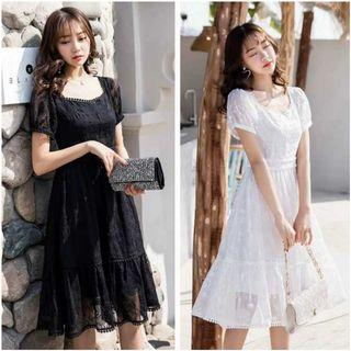 DXFQFM19855 Balloon Sleeved Lace Dress
