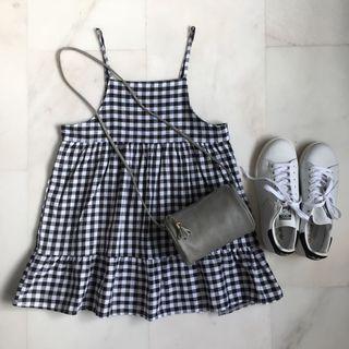 Checkered Babydoll Top / Checkered Dress / Babydoll dress / Spaghetti / Grid Dress / Black and White Dress/ Mini / Petite Dress / Summer Dress / High Waist Dress / Plaid / A Line Dress / Overall / Pinafore Dress/ Short a Dress / Ruffle