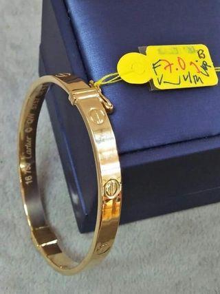 100% Genuine/Real 18K Saudi Gold Cartier Inspired Bangle (Clip-Type)