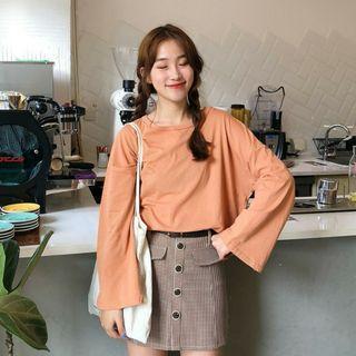 Korean Retro Orange Long Sleeve Blouse