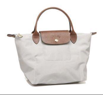 🚚 Longchamp Le Pliage Grey Medium Short Handle Bag Tote