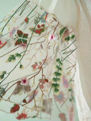 Floral embroidery sheer flowy blouse