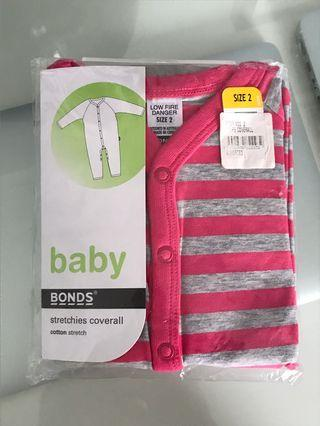 Bonds coveralls all in one pink gray onesie