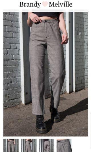 BRANDY MELVILLE - TILDEN PLAID PANTS - LIKE NEW