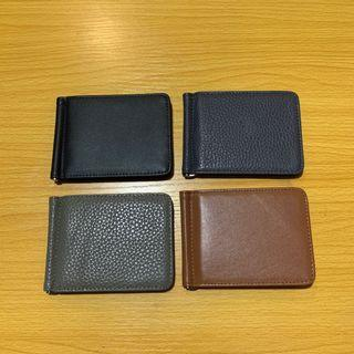 Slim card leather wallet with money clip