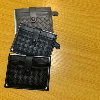 B cross leather card wallet with coin purse