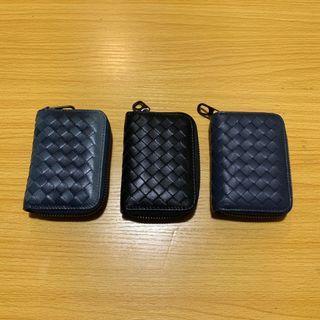 B cross leather card wallet keychain