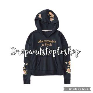 A&F embroidered floral navy sunflower hoodie 衛衣