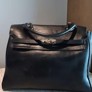 Leather Bag Kelly Look Alike / Tas Kulit Mirip Kelly Warna Hitam